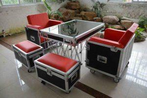 Flightcase Tafel met 2 stoelen